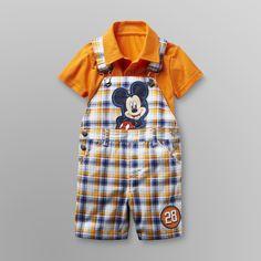Disney Baby Mickey Mouse Infant Boy's Overalls Shorts Set - Disney Baby
