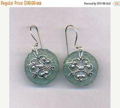 ON SALE Sterling silver earrings roman glass earrings by Bluenoemi