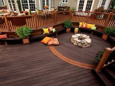 Creative Backyard Fire Pit Landscape Design with Trex Outdoor Deck Curved Bench