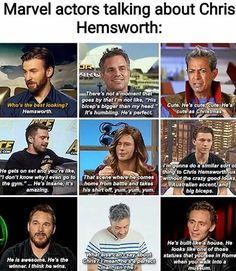 "Marvel actors talking about Chris Hemsworth: gen by m'u I'm no! mu, w: b/eop'a """"ir mn my md. Marvel Jokes, Funny Marvel Memes, Dc Memes, Avengers Memes, Marvel Dc Comics, Marvel Heroes, Marvel Avengers, Avengers Imagines, Avengers Cast"