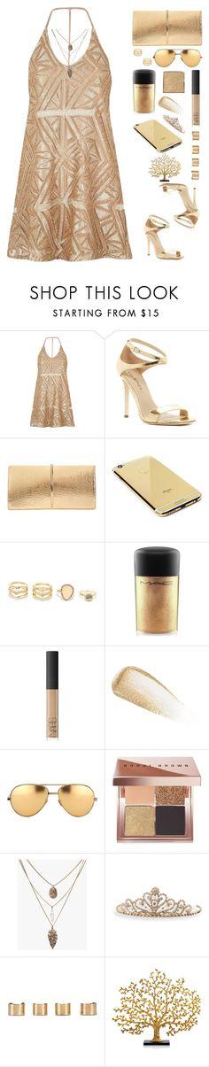 """Gold Digger"" by sillyyivyy ❤ liked on Polyvore featuring River Island, Via Spiga, Nina Ricci, Goldgenie, LULUS, MAC Cosmetics, NARS Cosmetics, Yves Saint Laurent, Linda Farrow and Bobbi Brown Cosmetics"