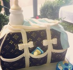Louis Vuitton Diaper Bag Baby Shower Cake! I will have this!! :)