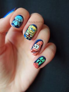 Spongebob and Friends - freehanded nail art with acrylic paint