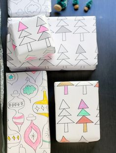 Make your wrapping paper multifunctional + use it as coloring paper.