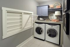 I can't decide whether I want drying racks in my laundry room or not. The space is tight, but I have a long hallway where I currently have a retractable clothesline when I need to hang things indoors. Still, there's something satisfying about the way these just fold against the wall when not in use.