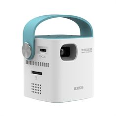 This is the most portable wireless projector with integrated speakers Portable Projector, Presentation Video, Color Plan, Japan Design, Design Case, Apps, Audio System, Cool Gadgets, Internet Of Things