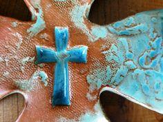 Turquoise Scroll Curled Cross #handmadecrosses #crosses #ceramiccrosses SOLD