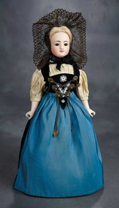 The Voyage Continues: 103 Beautiful German Bisque Closed Mouth Doll Attributed to Kling with Fine Original Costume