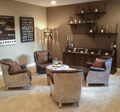 I want four chairs around an ottoman for a wine room, but I'm thinking something more cozy than this.