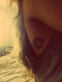 Sun and moon I have always wanted a tatt like this, i am cancer moon child an LOVE the sun