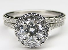 Diamond Halo Cathedral Engagement Ring & Matching Wedding Band - ES600BRBS