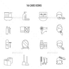 Personal Care Products Icons Set Line by macrovector Personal care hygiene products for men and women bathroom accessories line icons set abstract vector isolated illustration. Editab