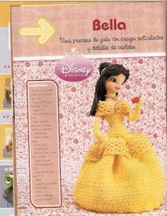 Muñeca Amigurumi Princesa Bella - Patrón Gratis en Español ( clic en las imágenes para ampliar el patrón) aquí: http://laboresdeestheramigurumis.blogspot.com.es/2013/04/bella-amigurumi.html