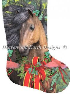 Stocking Merry Morgan - Cross Stitch Pattern. I'd like to do this one for my best friend, Nina. Too bad it doesn't come in chestnut to match her horse.