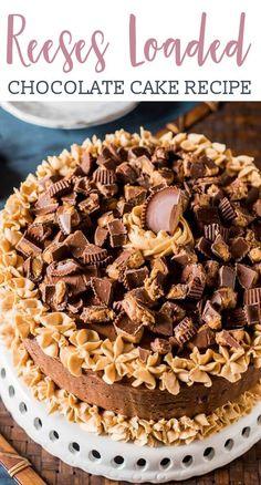 Reese's Cake {Homemade Chocolate Cake with Chocolate and Peanut Butter Frosting} - Chocolate Peanut Butter Reese's Cake is a moist chocolate cake with peanut butter frosting and bu - Reese's Chocolate, Homemade Chocolate, Chocolate Recipes, Chocolate Peanutbutter Cake, Chocolate Peanut Butter Frosting, Peanut Butter For Dogs, Peanut Butter Recipes, Vegan Peanut Butter, Reeses Cake
