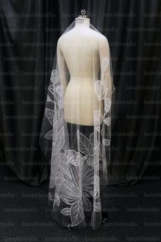 Got Married, Getting Married, Flower Veil, Mantilla Veil, Wedding Veil, Embroidered Flowers, Off White, Tulle, Bridal