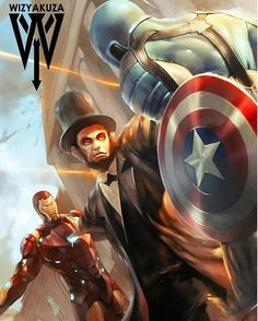 You know it's a problem when Lincoln has to stop you - #captainamerica #steverogers #marvel #marvelcomics #avengers #thefirstavenger #ironman #captainamericacivilwar #marvelcivilwar #avengers #thefirstavenger #disney #allnewalldifferentmarvel #wintersoldier #buckybarnes #captainamericawintersoldier #abrahamlincoln - Art by the amazing @wizyakuza by devilzsmile.com #devilzsmile