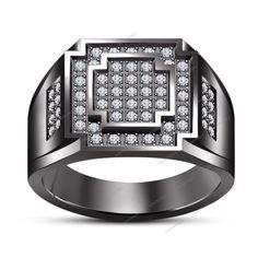 Brilliant Round Cut 1.00 CT Lab Created Diamond 14K Black Gold Finish Men's Ring…