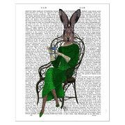 FabFunky - Lady Bella Rabbit Taking Tea Print