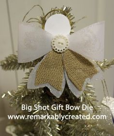 Gift Bow Angel - Janet Wakeland, The gift bow die has so many possibilities. Here is a sweet simple angel. Tutorial in video section