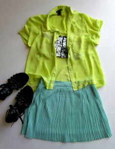 a darling mix. neon, sequin, sea green, black gladiator sandals.