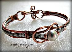 Silver Bead Copper Knot and Steel Wire Bracelet - Art Fire - kjs Copper Jewelry, Wire Jewelry, Jewelry Art, Jewelry Bracelets, Handmade Jewelry, Jewelry Design, Copper Wire, Wire Earrings, Jewellery