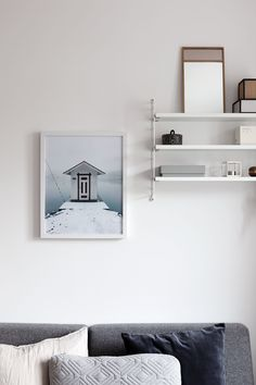 The new 'Snowy House' print made in collaboration with ad part of the Friluftsliv collection Modern Scandinavian Interior, Swedish Interiors, Colorful Interiors, Black Walls, Beige Walls, Nailart, Kitchen Wall Cabinets, Dream House Interior, Decoration Inspiration
