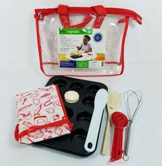Kids Real Cupcake Baking Set Oven Safe 12 Pc Red Child Bake Kit Carry Case New #BedBathandBeyond