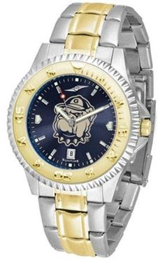 Georgetown University Hoyas NCAA Mens Two-Tone Anochrome Watch by SunTime. $93.95. Men. Officially Licensed Georgetown Hoyas Men's Stainless Steel and Gold Tone Watch. Two-Tone Stainless Steel. AnoChrome Dial Enhances Team Logo And Overall Look. Links Make Watch Adjustable. The perfect balance between sport and prestige. The Competitor AnoChrome with a Two-Tone Band is accented with a gold-plated rotating bezel timer central band links and crown piece. This ti...