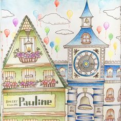 Romantic Country - Pauline' Bakery & the Clock Tower Coloring Book