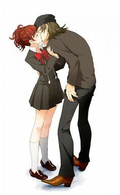 Shin Megami Tensei: Persona FemC and Shinjirou Aragaki Anime Couple Kiss, Anime Couples, Me Me Me Anime, Anime Love, Persona 3 Portable, Shin Megami Tensei Persona, Type Illustration, Illustrations, Female Protagonist