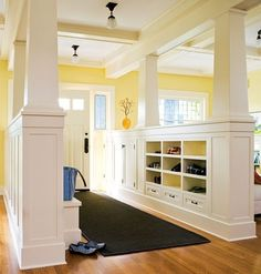 For my dream home.really unique, center hall plan.great for homes without a mudroom.easy to put away winter gear, etc. Craftsman Style Homes, Craftsman Bungalows, Craftsman Columns, Craftsman Interior, Entry Hallway, Open Entryway, Entryway Ideas, Entryway Storage, Grand Entryway