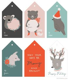 Free Printable Illustrated Holiday Tags  - blog post with links to LOTS of cute tags from the Inspired Room