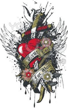 Heart sword wing emblem