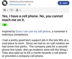 It's not uncommon for an employer to take something away and just assume their employees will just deal with it. This guy wasn't willing to do that. #cellphone #work #maliciouscompliance #job