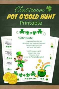 Patrick's Day Classroom Hunt Activity Patricks day games Classroom Pot O'Gold Hunt Printable Learning Activities, Activities For Kids, Crafts For Kids, Holiday Activities, St Patricks Day Food, Saint Patricks, Thing 1, Leprechaun, Parenting Advice