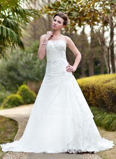 A-Line/Princess Sweetheart Chapel Train Chiffon Lace Wedding Dress With Ruffle Beading (002000139)