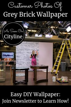 Watch this grey brick wallpaper on Cityline with Brian Gluckstein and then see it on real customer's walls! Hanging Wallpaper, How To Hang Wallpaper, Diy Wallpaper, Brick Wallpaper Black And White, Faux Brick Wallpaper, Grey Brick, Old Bricks, Your Space, Easy Diy