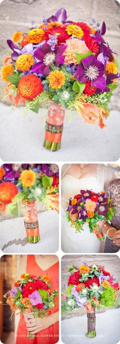 Rainbow Spring Harvest Bride and Bridesmaid Bouquets in Tangerine, red, purple and yellow + blue