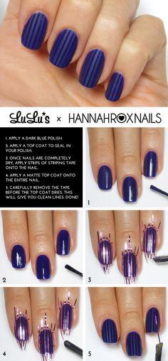 Mani Monday: Blue Matte Striped Nail Tutorial