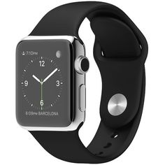 38mm Stainless Steel Case with Black Sport Band (11 805 UAH) ❤ liked on Polyvore featuring jewelry, watches and accessories