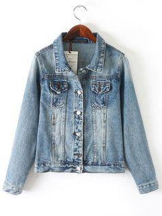 Denim Shirt Collar Long Sleeve Jacket