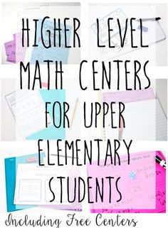 Math centers don't have to be only computation or fact fluency practice. This post shares 6 higher level math centers that are perfect for upper elementary. Many of the centers are FREE! Great for problem solving and group work! Sixth Grade Math, Fourth Grade Math, Ninth Grade, Seventh Grade, Second Grade, Math Stations, Math Centers, Learning Stations, Kids Learning