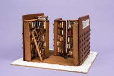 Gingerbread bookshelves