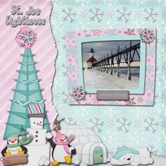 This layout I made last year it is one of my favorites my design redid some of the kit so I updated my layout. The photo is one we captured in one January of the Michigan St. Joseph lighthouse on Lake Michigan.  I used the pretty Sweet Snowy Day (redo) by FranB Designs http://www.scraps-n-pieces.com/store/index.php?main_page=product_info&cPath=66_217&products_id=10722