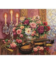 Dimensions Gold Collection Romantic Floral Counted X-Stitch-16''X13'', , hi-res