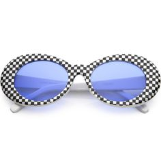 22b5d3486e Large Retro Checkered Oval Sunglasses Thick Frame Colored Lens Wide Arms  53mm