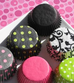 Assorted Fun Cupcake Liner Baking Cups - 6 styles in Pink, Lime and Black (108) combo set 2