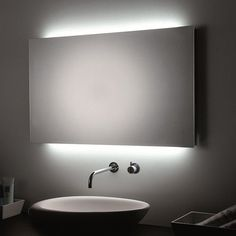 WS Bath Collections LED Wall Bathroom Mirror w/ Room Lights in Transparent, Contemporary & Modern Decorative Bathroom Mirrors, Home Decor Mirrors, Bathroom Wall, Bathroom Lighting, Lighted Wall Mirror, Led Mirror, Wall Mirrors, Backlit Mirror, Bathroom Interior