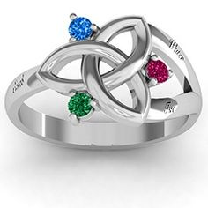 Siobhán Celtic Knot Ring--Earth (May Emerald) Water (December Blue Topaz) Fire (July Ruby)